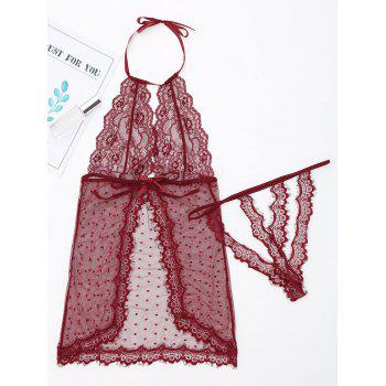 Halter Mesh See Through Babydoll - WINE RED S