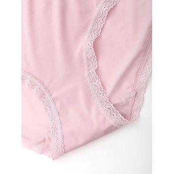 Seamless Lace Trim Panties - PINK M