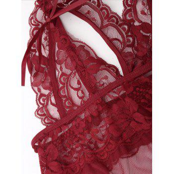 Sheer Cut Out Teddy with Lace - WINE RED XL