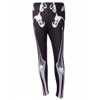 High Waist Skeleton Print Halloween Leggings - BLACK BLACK