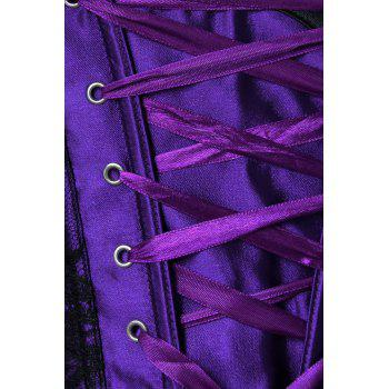 Garter Belt Corset Top with Bowknot - DEEP PURPLE L