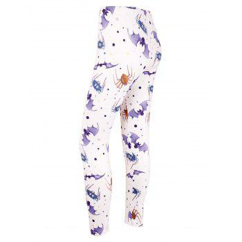 High Waist Bat Spider Print Halloween Leggings - LIGHT PURPLE S