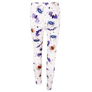 High Waist Bat Spider Print Halloween Leggings - LIGHT PURPLE L