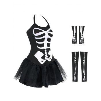 Skeleton Halloween Costume - BLACK BLACK