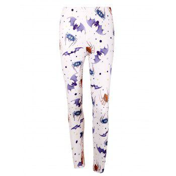 High Waist Bat Spider Print Halloween Leggings - LIGHT PURPLE LIGHT PURPLE