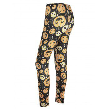 High Waisted Pumpkin Face Print Halloween Leggings - BLACK AND ORANGE BLACK/ORANGE
