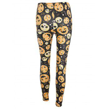 High Waisted Pumpkin Face Print Halloween Leggings - BLACK/ORANGE S