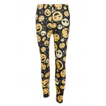 High Waisted Pumpkin Face Print Halloween Leggings - BLACK/ORANGE L