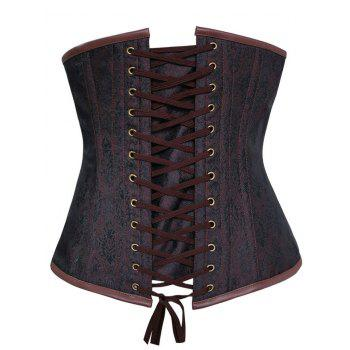 Steampunk Corset with Chains - DEEP BROWN S