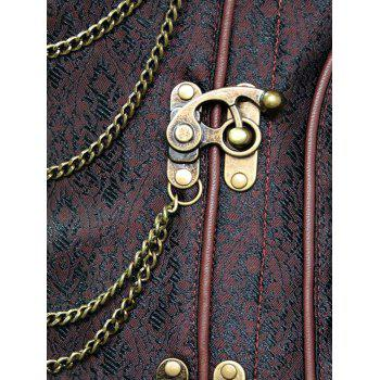 Steampunk Corset with Chains - DEEP BROWN L