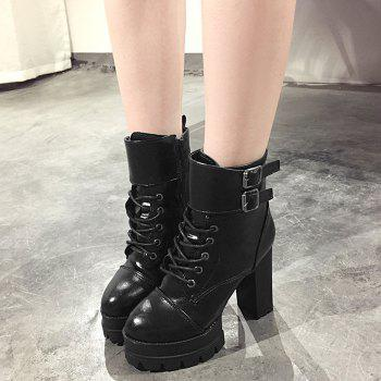 High Heel Buckle Strap Platform Ankle Boots - 37 37