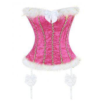 Faux Fur Trim Corset Top - WATER RED S