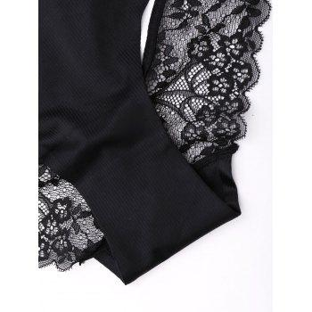 Lace Sheer Cut Out Panties - BLACK BLACK