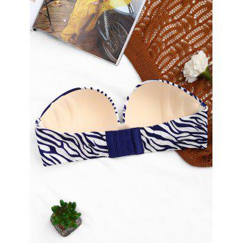 Strapless Zebra Print Push Up Bra - BLUE 70B