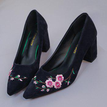 Pointed Toe Chunky Embroidery Flower Pumps - BLUE 39