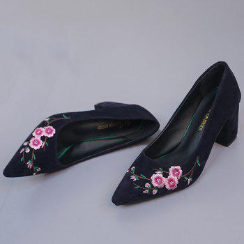 Pointed Toe Chunky Embroidery Flower Pumps - BLUE 37