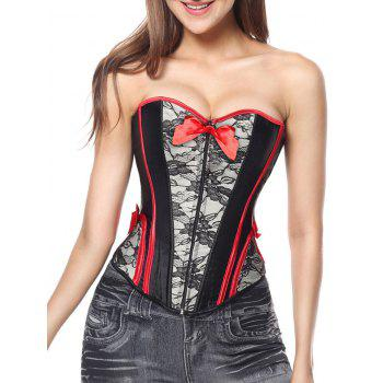 Sweetheart Corset Top with Lace - BLACK BLACK
