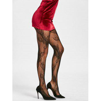 Flower Fishnet See Thru Tights - Noir ONE SIZE
