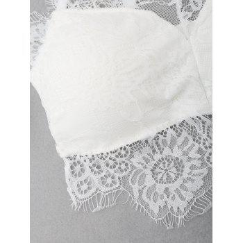 Lace Eyelash Padded Bra - WHITE WHITE