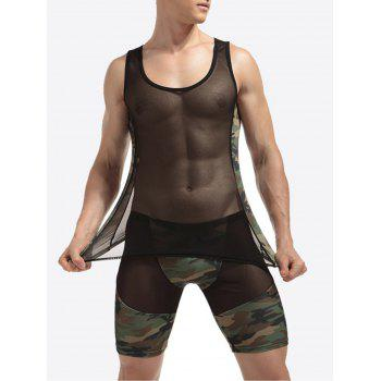 Voile Camouflage Panel Stretchy Suit ( Tank Top + Shorts ) - CAMOUFLAGE CAMOUFLAGE