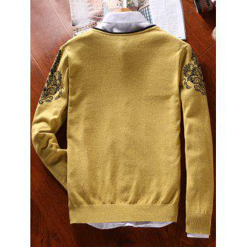 Vintage Floral Button V Neck Sweater - YELLOW YELLOW
