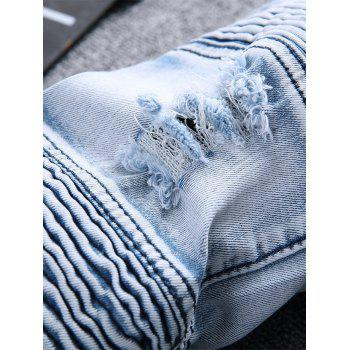 Straight Color Wash Ripped Biker Jeans - Bleu clair 32