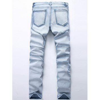 Straight Color Wash Ripped Biker Jeans - Bleu clair 36