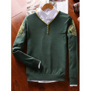 Vintage Floral Button V Neck Sweater - BLACKISH GREEN 2XL
