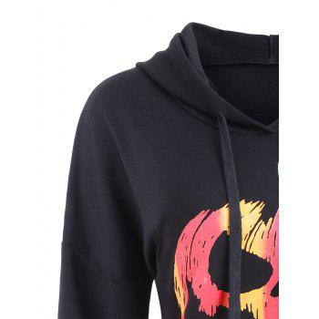 Drawstring Halloween Pumpkin Face Striped Hoodie - Noir L