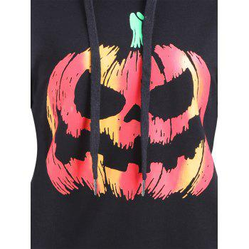 Drawstring Halloween Pumpkin Face Striped Hoodie - Noir XL