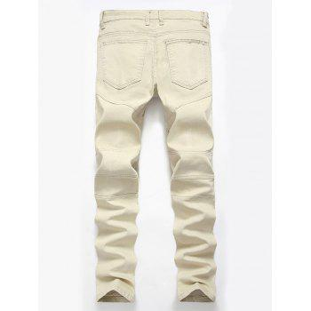 Straight Color Wash Ripped Biker Jeans - Kaki Clair 36