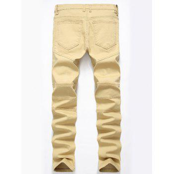 Straight Color Wash Ripped Biker Jeans - DARK KHAKI 34