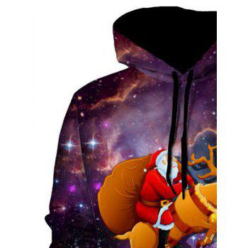 Elk Santa Clause Pullover Christmas Hoodie - COLORMIX L