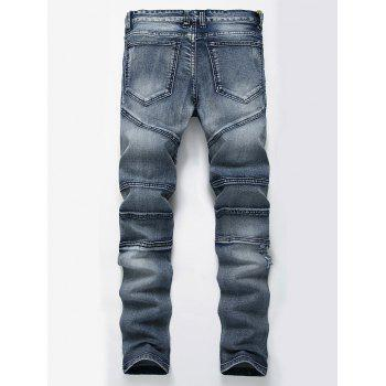 Straight Color Wash Ripped Biker Jeans - BLUE BLUE