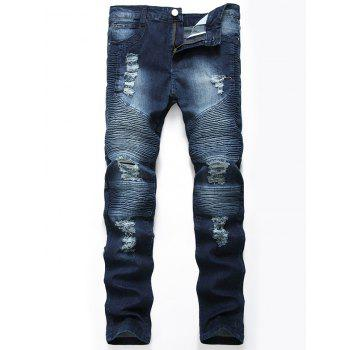 Straight Color Wash Ripped Biker Jeans - CERULEAN CERULEAN