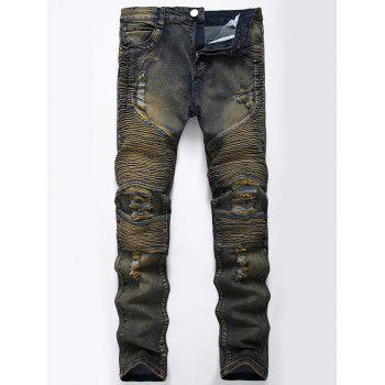 Straight Color Wash Ripped Biker Jeans - KHAKI GREY 40