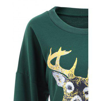 Crew Neck Elk Print Christmas Sweatshirt - GREEN M