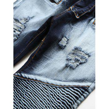 Acid Wash Distressed Biker Jeans - Bleu 34