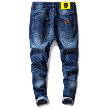Stretch Zipper Fly Cuffed Jeans - DENIM BLUE 34