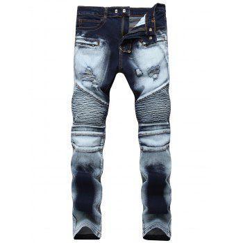 Acid Wash Distressed Biker Jeans - BLUE 38