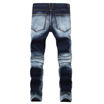 Acid Wash Distressed Biker Jeans - BLUE BLUE