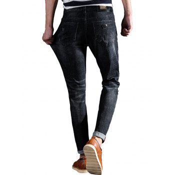 Scratched Metal Embellished Taper Fit Jeans - BLACK 38
