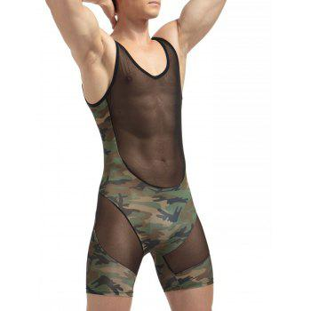 H Back Stretchy Camouflage Voile Panel Bodysuit - M M