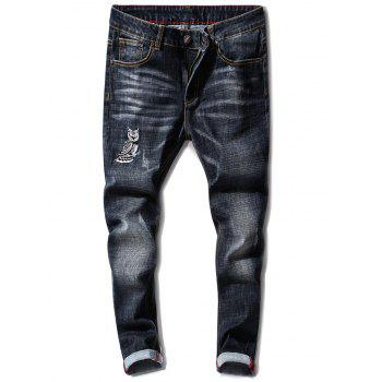 Slim Fit Owl Embroidery Zip Fly Jeans - BLACK 32