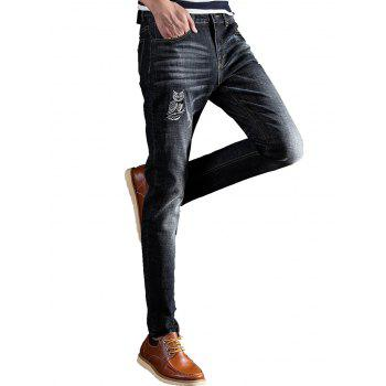 Slim Fit Owl Embroidery Zip Fly Jeans - Noir 32
