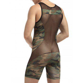 H Back Stretchy Camouflage Voile Panel Bodysuit - XL XL