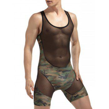 H Back Stretchy Camouflage Voile Panel Bodysuit - CAMOUFLAGE XL