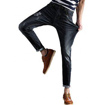 Slim Fit Owl Embroidery Zip Fly Jeans - BLACK 36