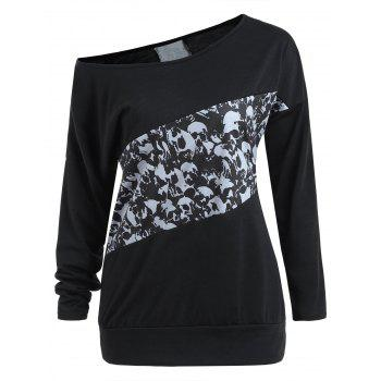 Halloween Skull Print Long Sleeve Top - BLACK XL