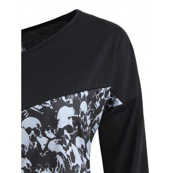 Halloween Skull Print Long Sleeve Top - XL XL